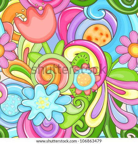 Bright colorful seamless with flowers