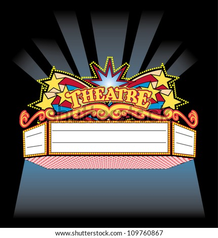 bright colorful spot light showtime theatre marquee stock