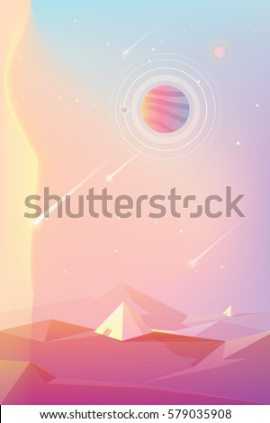 bright colorful unusual planet