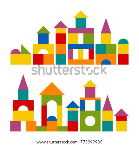 Bright colorful wooden blocks toy. Bricks childrens building tower, castle, house. Vector flat style illustration isolated on white background. ストックフォト ©