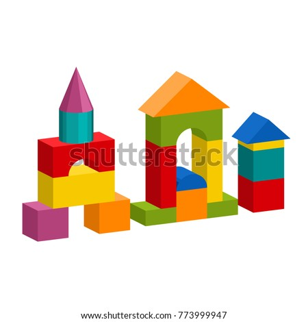 Bright colorful wooden blocks toy. Bricks childrens building tower, castle, house. Vector volume style illustration isolated on white background. ストックフォト ©