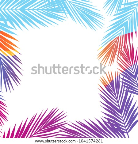 bright colors palm leaves