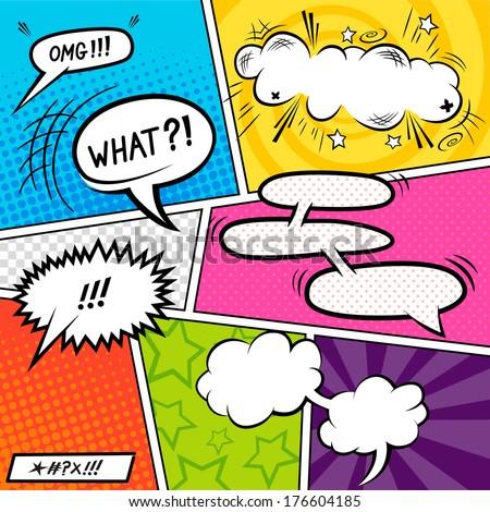 Bright Comic book Elements with speech bubbles - vector illustration. Foto d'archivio ©