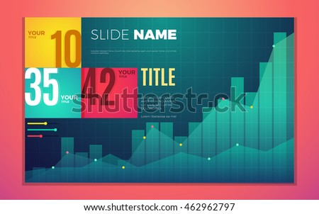 Bright contrast colors infographic set with progress chart, boxes, text and numbers. Vector creative modern eps10 illustration