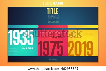 Bright contrast colors infographic with step by step years infographic chart, boxes, text and numbers. Vector creative modern eps10 illustration