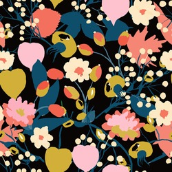 bright, contrasting Pattern with bright leaves and autumn flowers