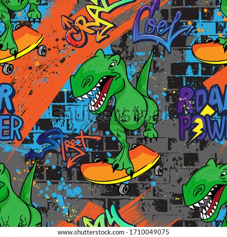 Bright cool seamless pattern with dinosaur on a skateboard. graffiti background with t rex.For textile, kids wear, fabric and more