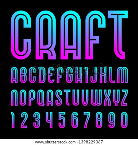 Bright craft font, alphabet in simple style. Vector letters and numbers.