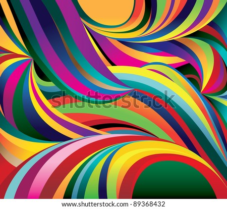 Bright curved waves. Background. Vector Illustration
