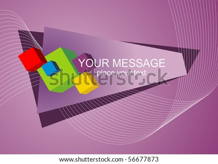 bright 3D cubes on lilac abstract background