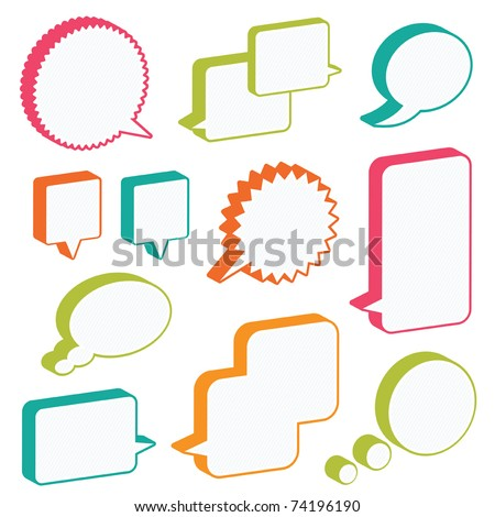 bright 3d speech bubbles ready for text, isolated on white