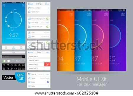 Bright design mobile ui kit for task manager flat vector illustration
