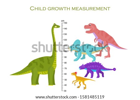 Bright dinosaurs. Scale for measuring the height of the child in centimeters. Vector illustration.