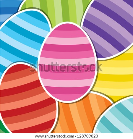 Bright Easter egg sticker background in vector format.