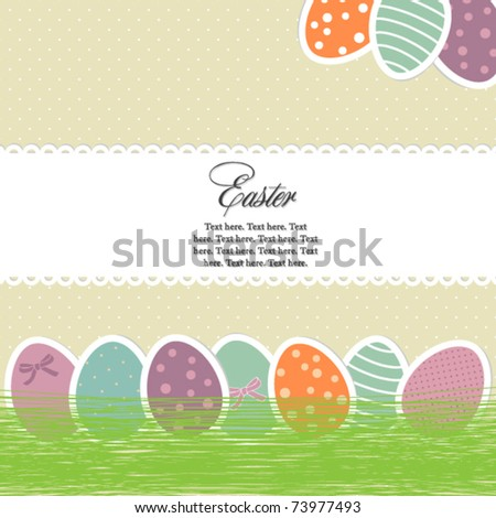 Bright easter eggs card - stock vector