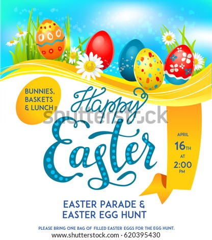 Bright Easter eggs on a grass. Easter holiday template for design card, banner, ticket, leaflet, poster and so on. Template with space for text. #620395430