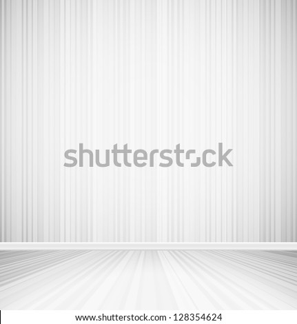 Bright empty room with striped wall and striped floor interior. Vector illustration