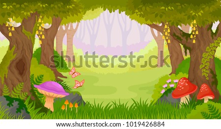 Bright fairy tale forest with copy space