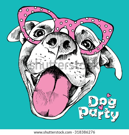 Bright festival poster with portrait of a cheerful  dog in pink glasses on blue background. Vector illustration.