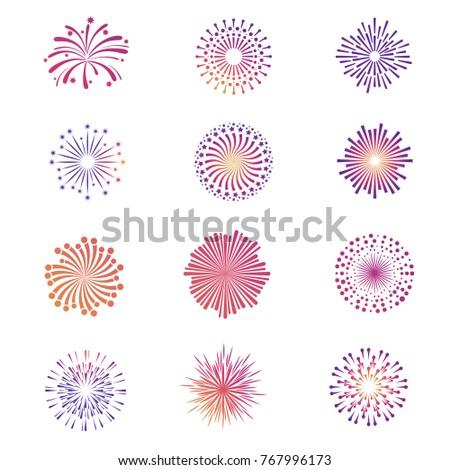 Bright festive fireworks, star explosion vector collection. Star firework bright and explosion illuminated illustration