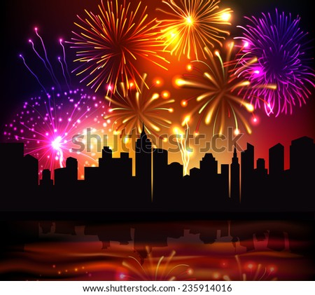 bright festive fireworks with