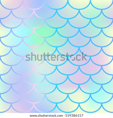 Bright fish scale vector seamless pattern. Gradient mesh background with fishscale ornament. Pale yellow pink gradient mesh. Mermaid pattern or decor element. Fish skin or Mermaid tail texture