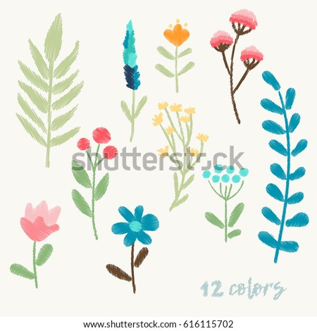Bright Floral Elements For Embroidery Of Clothes And Textiles