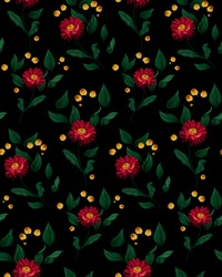 Bright floral pattern with aster. Blooming aster surrounded by leaves and other small flowers on a dark background. Seamless pattern, vector illustration.