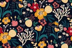 Bright floral print with various hand drawn flowers, leaves, berries on a dark background. Abstract colorful pattern. Vector seamless pattern. Plant flower nature wallpaper. Original design.