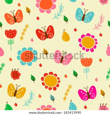 Bright floral romantic seamless pattern with butterflies in vector. Seamless pattern can be used for wallpapers, pattern fills, web page backgrounds, surface textures. Background in childish style.