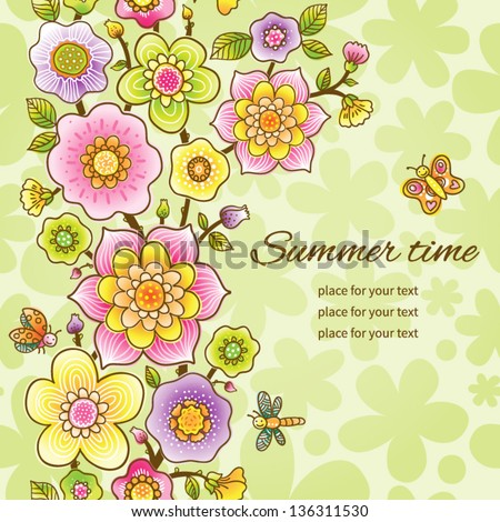 Bright floral seamless border with butterfly, dragonfly and ladybug. It can be used for decorating of invitations, cards and decoration for bags. You can place your text in the empty frame.