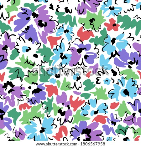 Bright floral seamless pattern. Outline contour lines forming stylized blooming daisy flowers. Simple geometric shapes as curved lines and brush strokes. Sketch drawing. Flowers all over print.