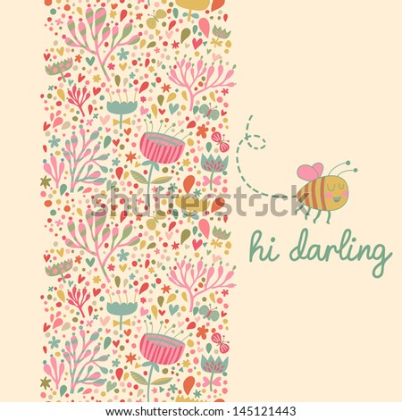 Bright floral seamless pattern with cute bee in vector. Can be used for summer backgrounds and warm textures