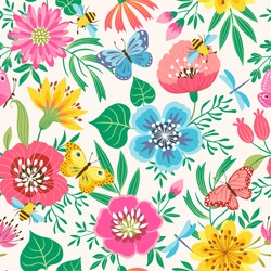 Bright floral seamless pattern with flowers, butterflies, bees and dragonflies.