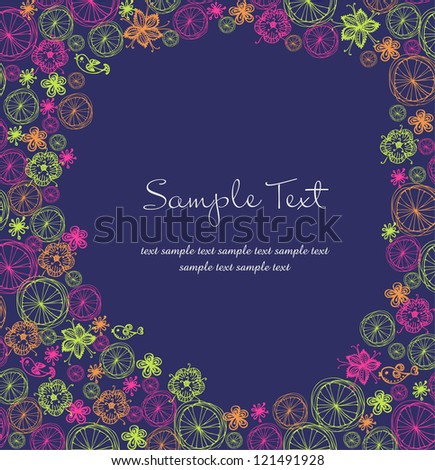 Bright floral template for design with place for your text and ornamental colorful pattern - stock vector
