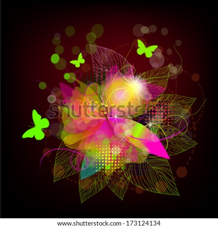 Bright flower abstraction on a black background.  Vector