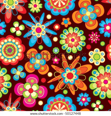 bright flowers in floral pattern