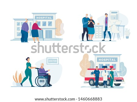 Bright Flyer Hospital Visit Lettering, Cartoon. Poster Grandmother with Grandfather Look at Building Hospital. Ambulance Team on Background Car to Call Ambulance. Vector Illustration.
