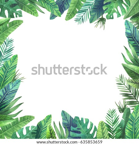Bright frame of colorful tropical leaves. Concept of the jungle for the design of invitations, greeting cards and wallpapers.