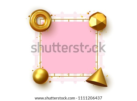 Bright frame with 3d geometric elements with place for text. Art minimal design #1111206437