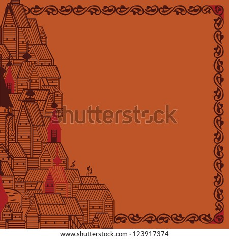 bright frame with ornaments and structures of Russian folklore ストックフォト ©