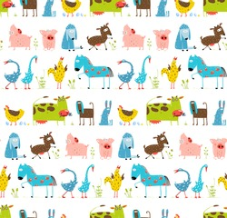 Bright Fun Cartoon Farm Domestic Animals Seamless Background. Countryside amusing baby animals pattern for children. Vector EPS10.