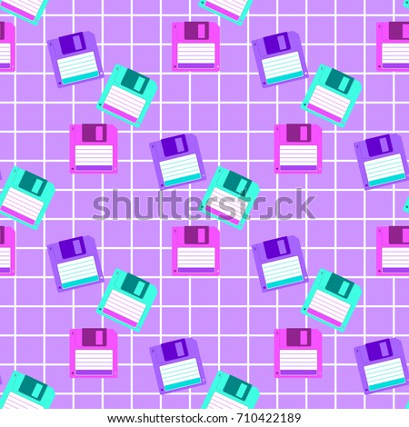 Bright geometric seamless pattern. Colorful floppy disk on a violet background. Style 80's and 90's, vintage memphis. Print for textile and fabric in African wax style. Vector EPS 8