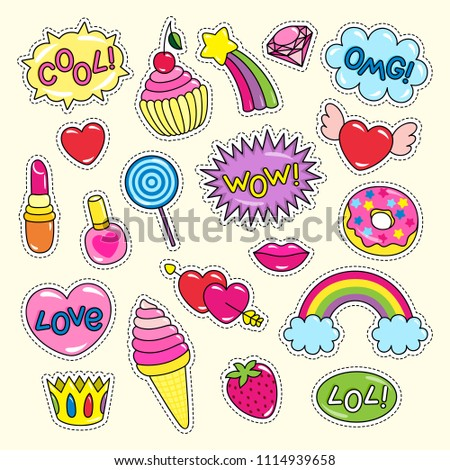 Bright girlish stickers of pink and red colors set. Ice cream in cone, cute hearts, shiny rainbows, sweet donut, cherry cupcake vector illustrations.