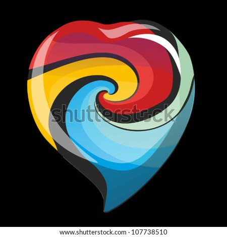 Bright glass vector heart