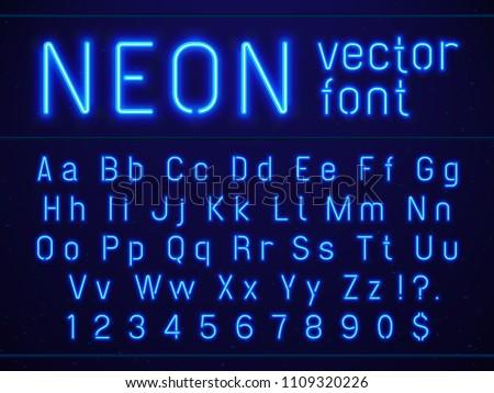 bright glowing blue neon...