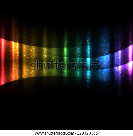 Bright glowing waves dark background. EPS10 vector.