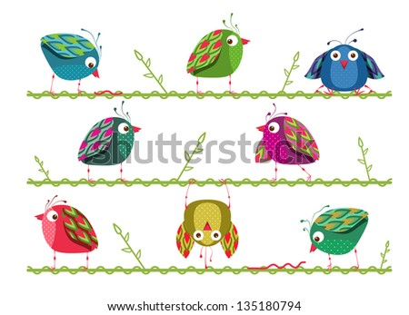 Bright Graphic Cartoon Birds Composition. A collection of colorful birds. Vector illustration EPS8.