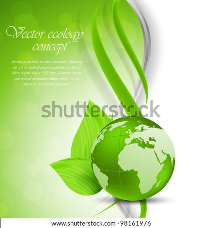 Bright green background with globe and leaves