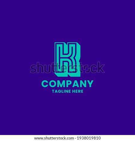 Bright green 3D letter K monogram initial logo with line in the middle, in bright blue background Stock fotó ©